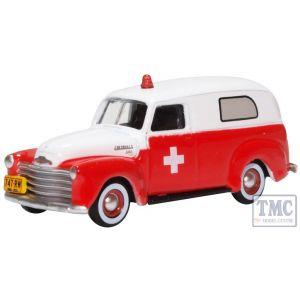 87CV50001 Oxford Diecast HO Gauge Chevrolet Panel Van 1950 Ambulance