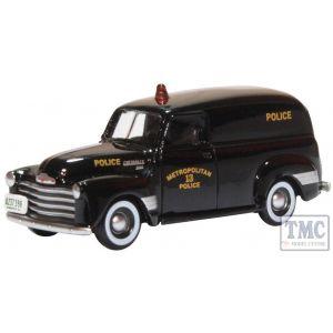 87CV50002 Oxford Diecast 1/87 Scale HO Gauge Chevrolet Panel Van 1950 Washington DC Police