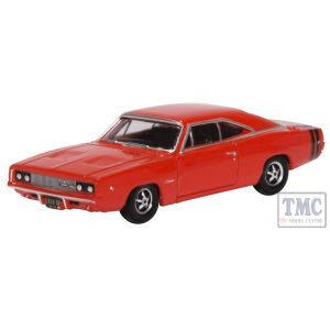 87DC68001 Oxford Diecast 1:87 Scale Dodge Charger R/T 1968 Bright Red