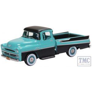 87DP57002 Oxford Diecast HO Gauge Dodge D100 Sweptside Pick Up 1957 Turquoise/Jewel Black