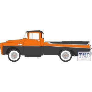 87DP57004 Oxford Diecast  Dodge D100 Sweptside Pick Up 1957 Omaha Orange/Jewel Black