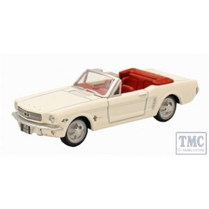 87MU65005 Oxford Diecast HO Gauge 1:87 Scale Wimbledon White Ford Mustang Convertible 1965