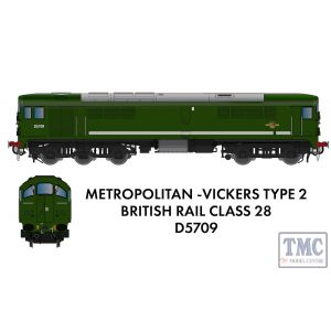 905501 Rapido Trains N Gauge Class 28 D5709 Plain BR Green - DCC SOUND