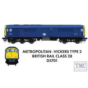 905506 Rapido Trains N Gauge Class 28 D5701 BR Blue With Full Yellow Ends - DCC SOUND