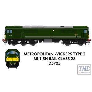 905505 Rapido Trains N Gauge Class 28 D5705 BR Green With Small Yellow Panel (Small Radius Corners) As Preserved - DCC SOUND