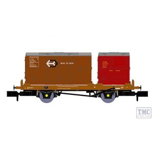 921009 Rapido Trains N Gauge BR 'Conflat P' No. B933343 (with crimson & bauxite containers)