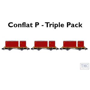 921018 Rapido Trains N Gauge BR 'Conflat P' Triple Pack C (No.2 B933670, B932944, B932945 with crimson and bauxite containers)