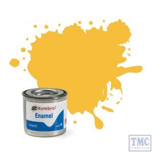 AA0268 Humbrol Enamel Paint Tinlet No 24 Trainer Yellow - Matt - (14ml)
