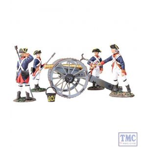 B16015 W.Britain British Royal Artillery 6 Pound Gun & Crew 5 Piece Set Clash of Empires Collection