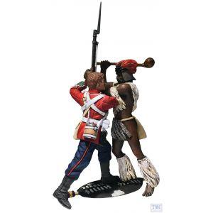 "B20184 W.Britain ""The Struggle"" British 24th Foot & Zulu Warrior 2 Pce Set Zulu - Matte"