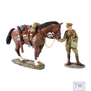 B23063 W.Britain 1916-18 British Lancer Feeding Horse 2 Piece Set World War I Collection