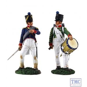 B36141 W.Britain French Infantry Command Set-Drummer 2 & Line Officer 2 Napoleonic Collection