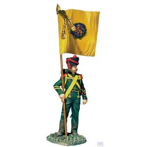B36182 W.Britain Nassau Grenadier with Regimental Colour 1815 Napoleonic