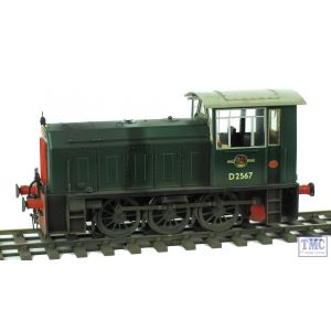 25901 Heljan O Gauge Class 05 Diesel Shunter D2567 BR Plain Green Weathered by TMC