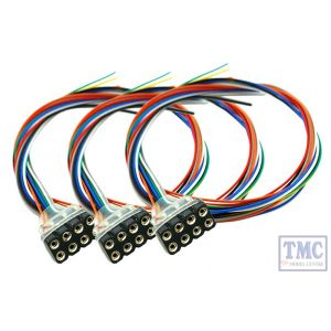 DCC-8PF3 DCC Concepts HO/OO Scale 8 Pin Female DCC Harness 300mm Leads (3)