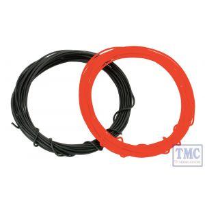 DCW-KRB DCC Concepts N/TT/HO/OO/O/G Scale Kynar Wire Set - 2m x Red & 2m x Black