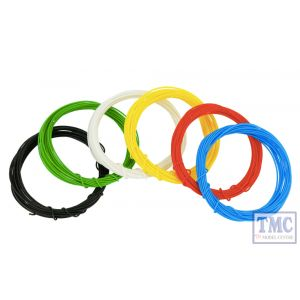 DCW-KST DCC Concepts N/TT/HO/OO/O/G Scale Kynar Wire Set - 2m x 6 Colours (12m Total)