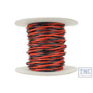 DCW-TW25-3.5 DCC Concepts N/TT/HO/OO/O/G Scale 25m of 3.5mm (11g) Twin Twisted Power Bus Wire