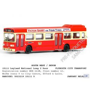 E15111 Exclusive First Edition (EFE) 1:76 Scale (OO Gauge) Bus Leyland National Lg 2 Door Plymouth Cty Trpt Efford & Laira
