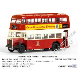 E26329 Exclusive First Edition (EFE) 1:76 Scale (OO Gauge) Bus Guy Arab II Utility Bus Burton Corporation Acorn Inn 10