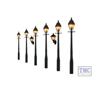 GM856 Gaugemaster Lighting HO/OO Scale Taper Post Gas Lamp Soft Black (Value Pack)