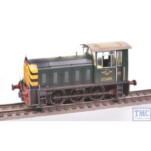2521 Heljan OO Gauge Class 05 Hunslet Shunter D2600 BR Green L/C with Wasp Stripes Weathered by TMC