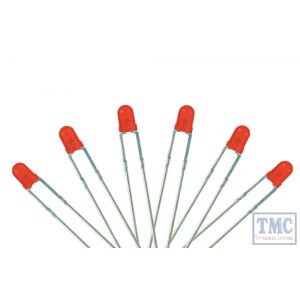 LED-FR3 DCC Concepts N/TT/HO/OO/O/G Scale 3mm Flashing Red T-1 Type LED 6-12v (3)