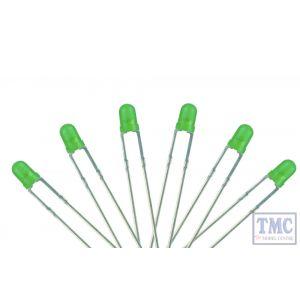 LED-GR3 DCC Concepts N/TT/HO/OO/O/G Scale Green 3mm T-1 Type LED w/Resistors (6)
