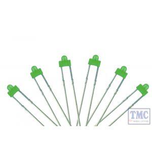 LED-GRD DCC Concepts N/TT/HO/OO/O/G Scale Green 1.8mm Panel Dot Type LED w/Resistors (6)