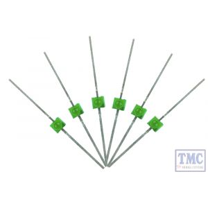 LED-GRM DCC Concepts N/TT/HO/OO/O/G Scale Green 1.6mm Mini Butterfly Lead Type LED (6)