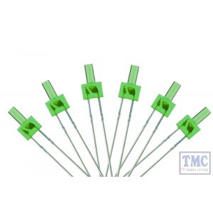 LED-GRT DCC Concepts N/TT/HO/OO/O/G Scale Green 2mm Tower Type LED w/Resistors (6)