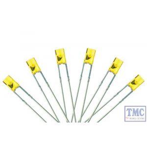 LED-PWF3 DCC Concepts N/TT/HO/OO/O/G Scale 3mm Flat Front Prowhite LED w/Resistors (6)