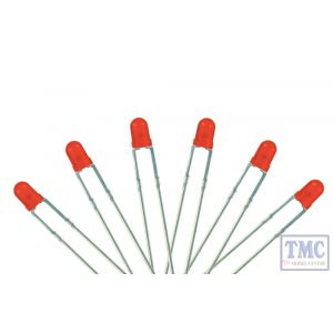 LED-RD3 DCC Concepts N/TT/HO/OO/O/G Scale Red 3mm T-1 Type LED w/Resistors (6)