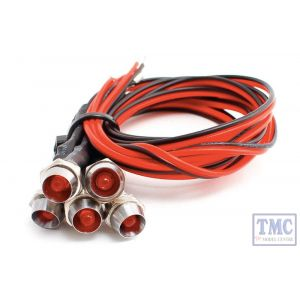 LED-RDCP DCC Concepts Red Chrome Mount Common & Pre-Wired LEDs (5)
