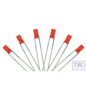 LED-RDF3 DCC Concepts N/TT/HO/OO/O/G Scale Rich Signal Red 3mm Flat Front LED w/Resistors (6)