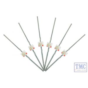 LED-RDM DCC Concepts N/TT/HO/OO/O/G Scale Red 1.6mm Mini Butterfly Lead Type LED w/Resistors (6)