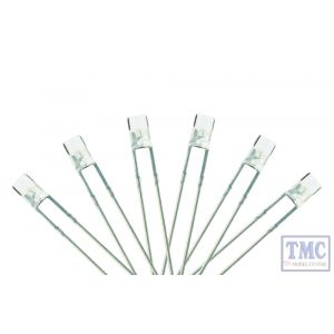 LED-SWF3 DCC Concepts N/TT/HO/OO/O/G Scale 3mm Flat Front Daylight White LED w/Resistors (6)