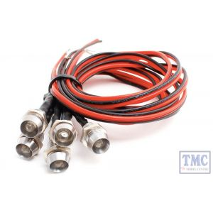 LED-WHCP DCC Concepts N/TT/HO/OO/O/G Scale Wht Chrome Mount Common & Pre-Wired LEDs (6)