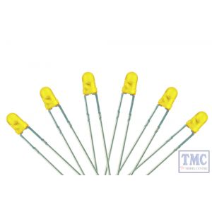 LED-YL3 DCC Concepts N/TT/HO/OO/O/G Scale Yellow 3mm Flat Front LED w/Resistors (6)