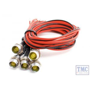 LED-YLCP DCC Concepts N/TT/HO/OO/O/G Scale Ylw Chrome Mount Common & Pre-Wired LEDs (6)