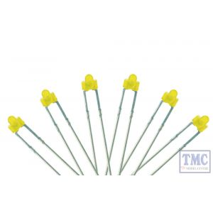 LED-YLD DCC Concepts N/TT/HO/OO/O/G Scale Yellow 1.8mm Panel Dot Type LED w/Resistors (6)