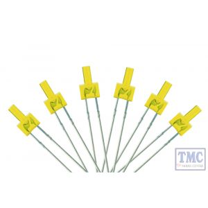 LED-YLT DCC Concepts N/TT/HO/OO/O/G Scale Yellow 2mm Tower Type LED w/Resistors (6)