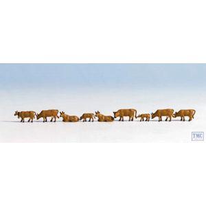 N36722 Noch N Scale Cows - Brown (9)