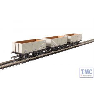 OR76MW7014 Oxford Rail OO Gauge 7 Plank Mineral Wagon Set (3) BR Grey