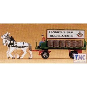 PR79478 Preiser N Gauge Horse Drawn Brewery Dray Cart