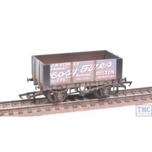 R6871 Hornby OO Gauge 6 Plank Wagon Scholes & Sons (Era 3) Weathered by TMC