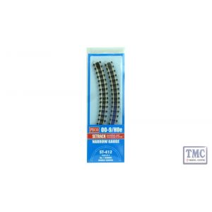ST-412 Peco OO9 Gauge Double Curve Blister Pack 4 Pack
