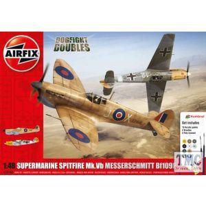 A50160 Airfix 1:48 Scale Spitfire Mk.Ia Messerschmitt Bf109E-4 Dogfight Double Gift Set