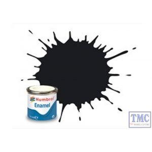AA0237 x 6 Humbrol No 21 Black Gloss Enamel Tinlet No.1 (14ml) (Pack of 6)