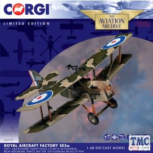 AA37709 Corgi 1:48 Scale SE5a D3511, Major R. S Dallas, CO RAF No.40 Squadron, Bruay Aerodrome, France, May 1918, Top Australian air ace of WWI